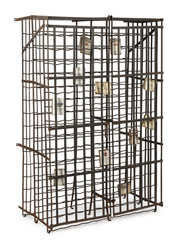 A large painted steel two door wine cage, French 19th Century