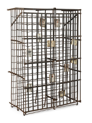 A large wrought iron two door lockable wine cage, French 19th Century