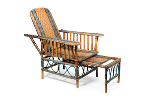 An outstanding powder blue and natural cane reclining verandah chair, French Circa 1920