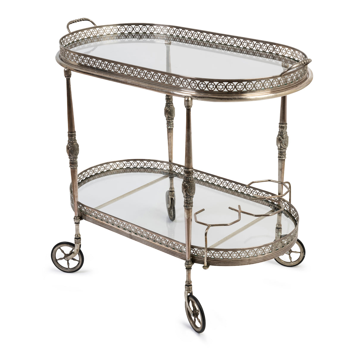 SOLD A fine quality silvered metal and glass two tier-oval drinks trolley,