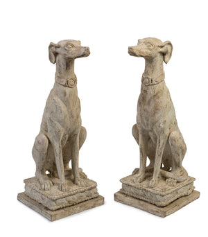 SOLD An imposing pair of large white-painted terracotta greyhounds, Italian early 20th Century
