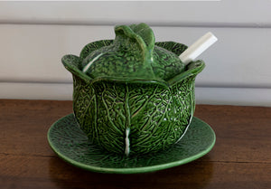A green glazed cabbage form tureen with serving spoon, French Circa 1950