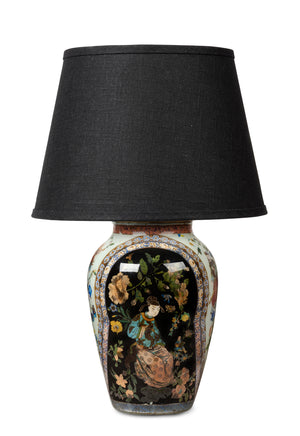 A highly decorative, Chinoiserie decalomania vase lamp, French 19th Century