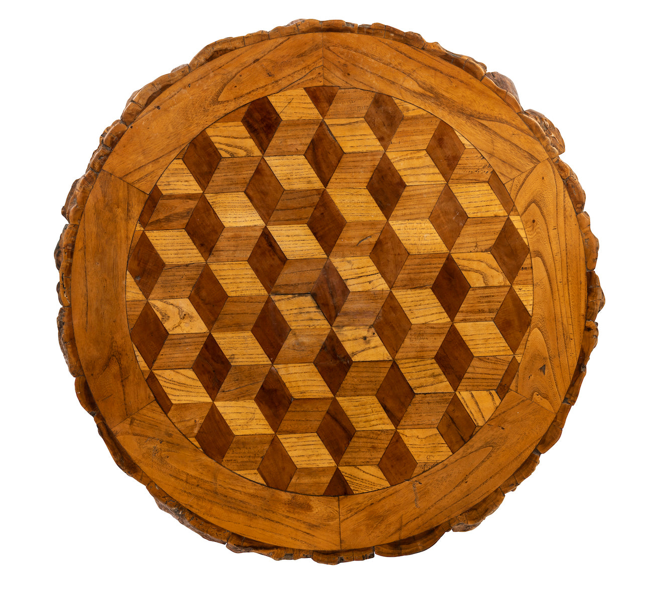 A unique naturalistic occasional table with optical parquetry top, Australian Circa 1970