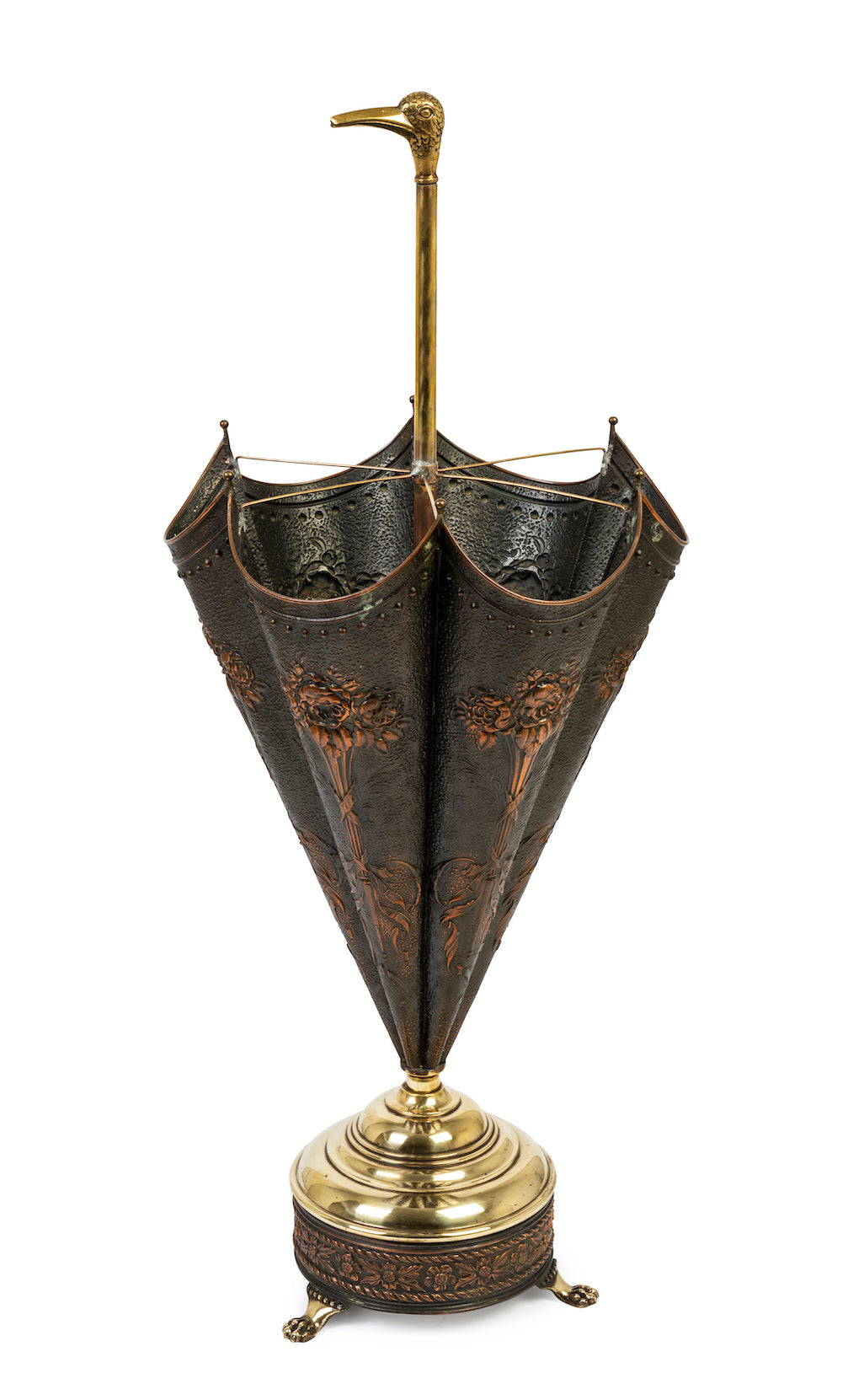 A copper and brass duck's head umbrella stand, French Circa 1920