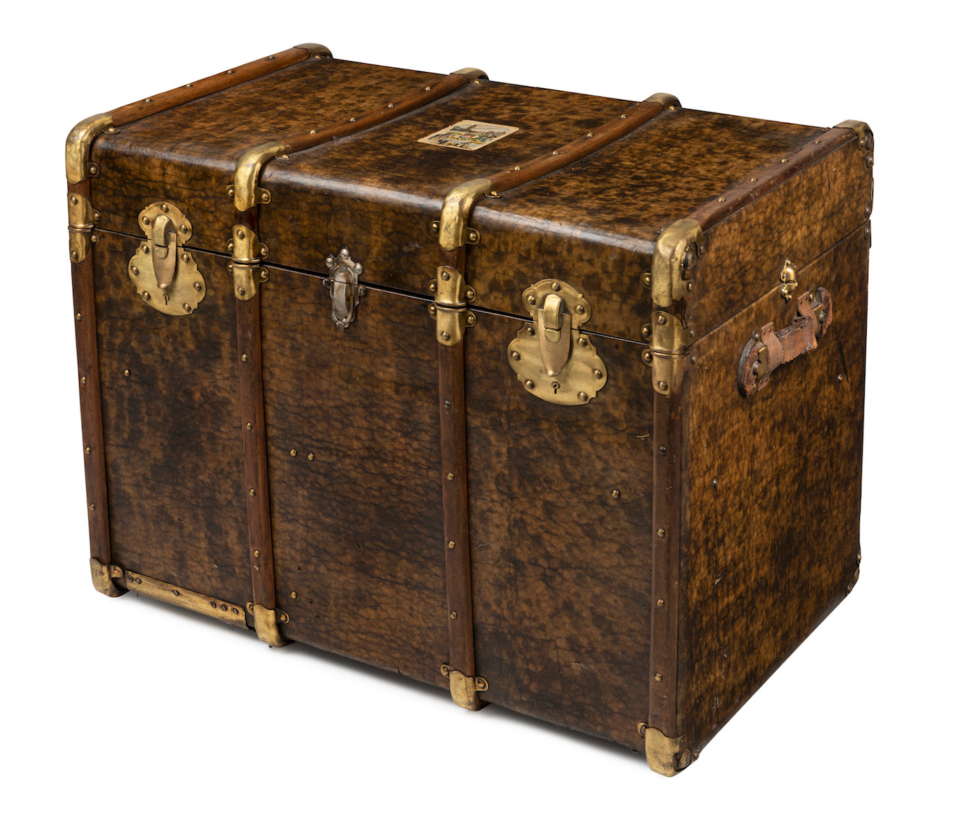 A stylish tortoiseshell leather, timber and brass bound travelling trunk, French Circa 1890