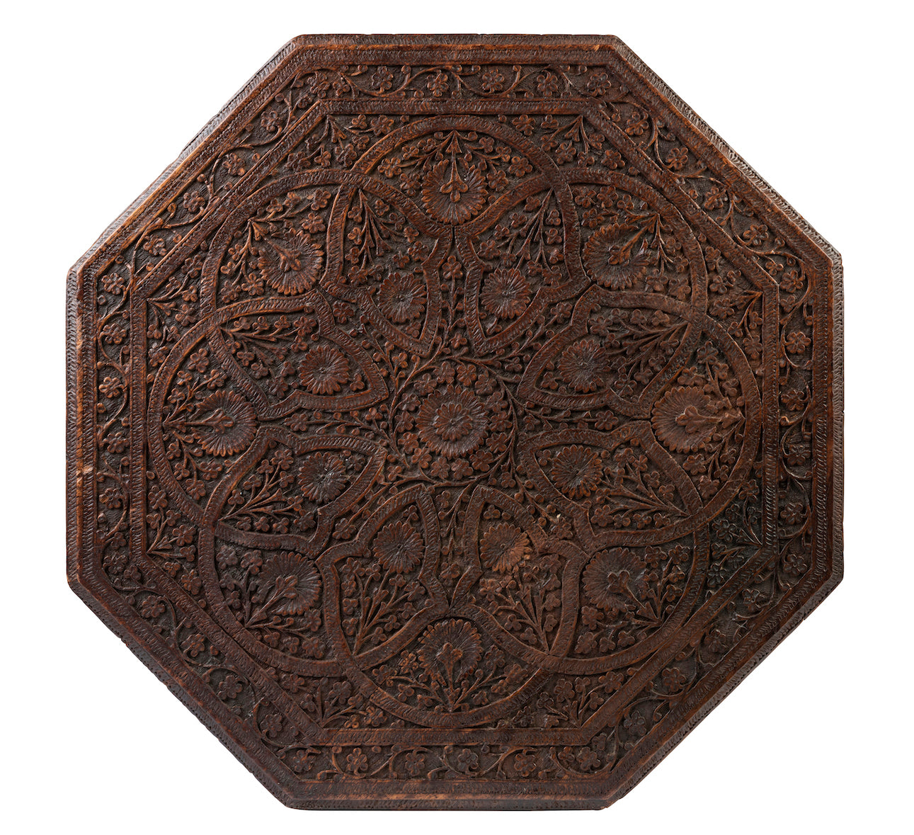 SOLD A fine Kashmiri carved octagonal occasional table with cast iron base, Anglo-Indian 19th Century