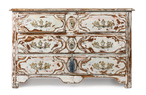 A Louis XVI style soft blue painted four drawer commode, French 20th Century