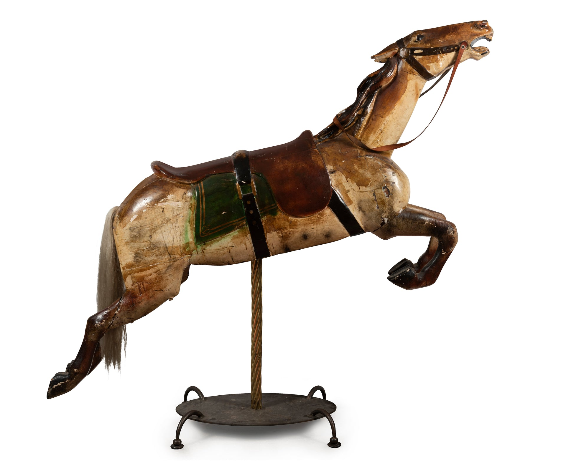An exceptional painted and lacquered gesso and timber double saddle Carousel Horse, French Circa 1870