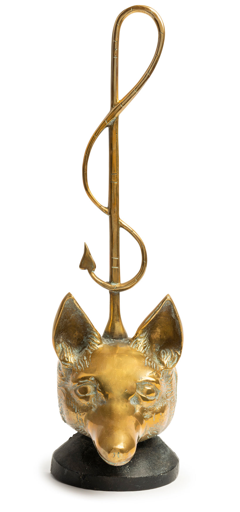 SOLD A solid brass doorstop in the form of a fox and riding crop, French Circa 1950