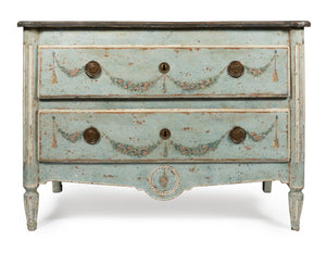 A beautiful polychrome painted pale blue two drawer commode, Italian 18th Century