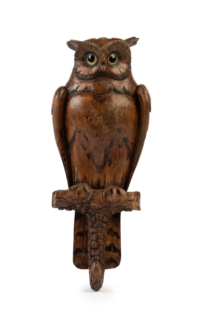 SOLD An endearing carved wooden coat hook in the form of a perched owl with glass eyes, French Circa 1880