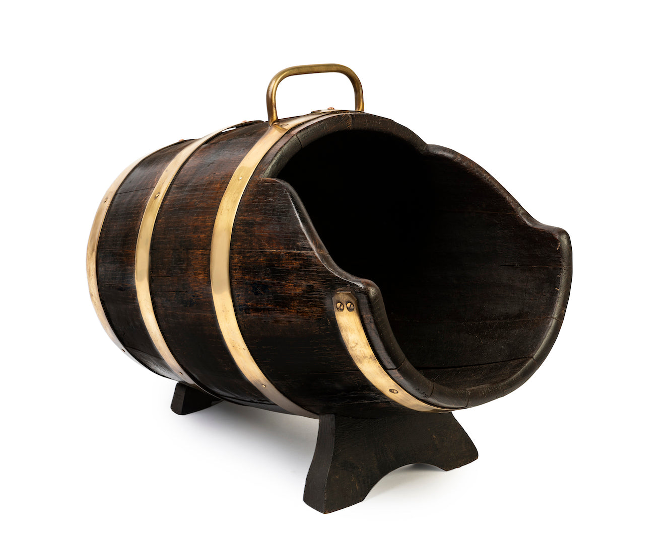 A coopered oak and brass banded coal pig, English Circa 1950