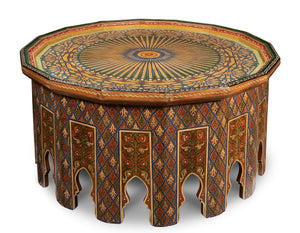 An exceptional polychrome painted hexadecagon (sixteen sided) shaped centre table Moroccan, mid century