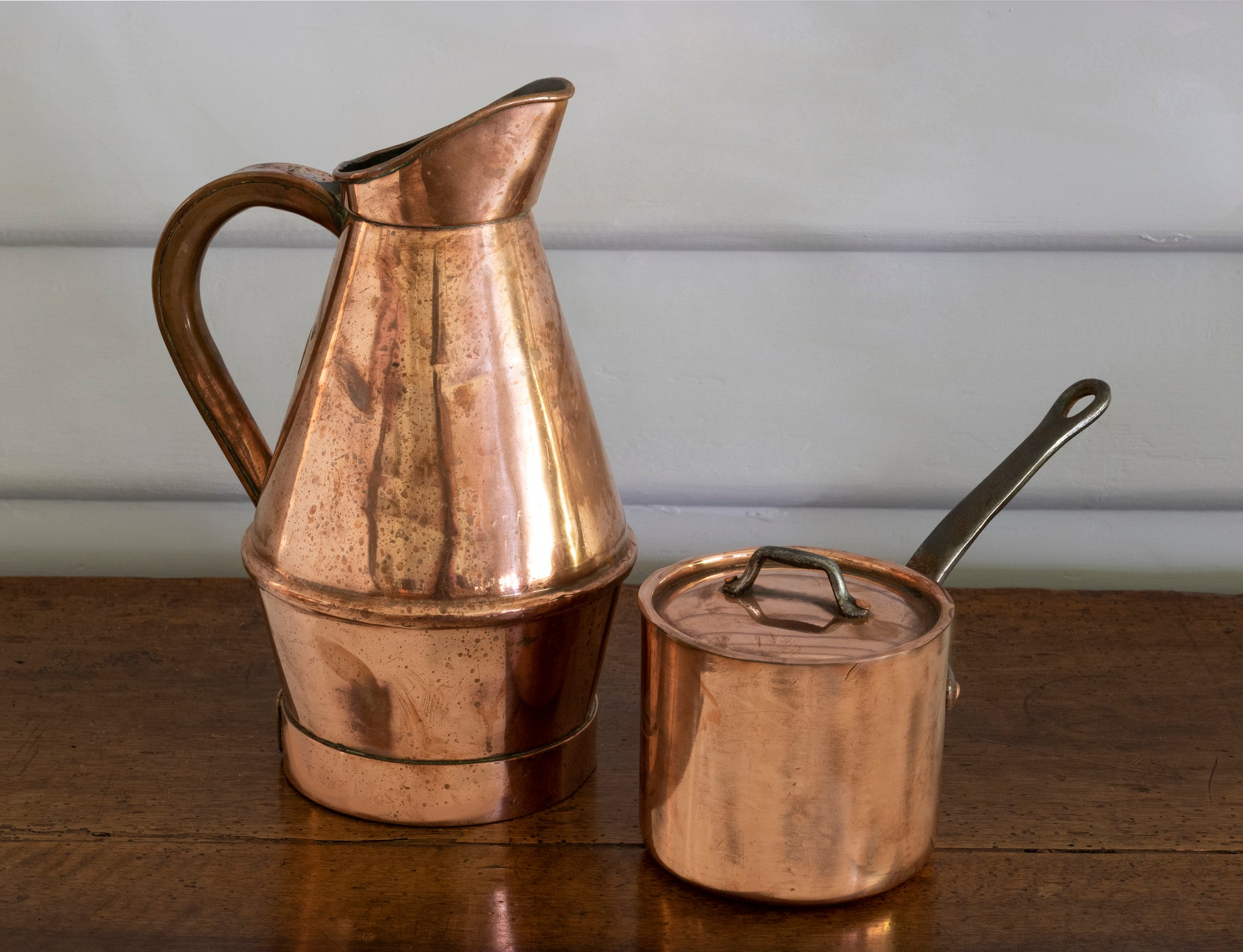 A copper jug,  French 19th Century