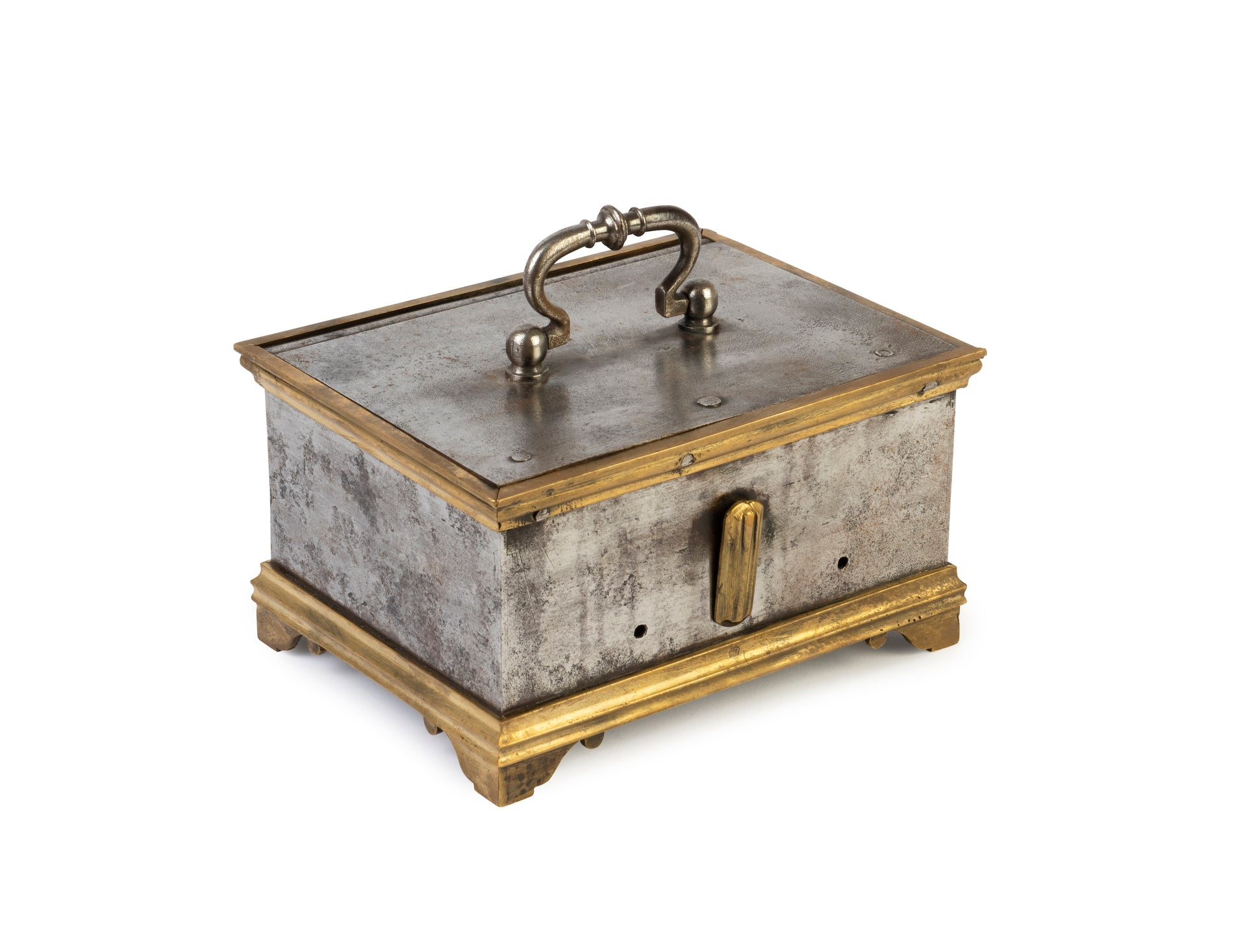 A petite steel and brass strongbox, French 18th Century