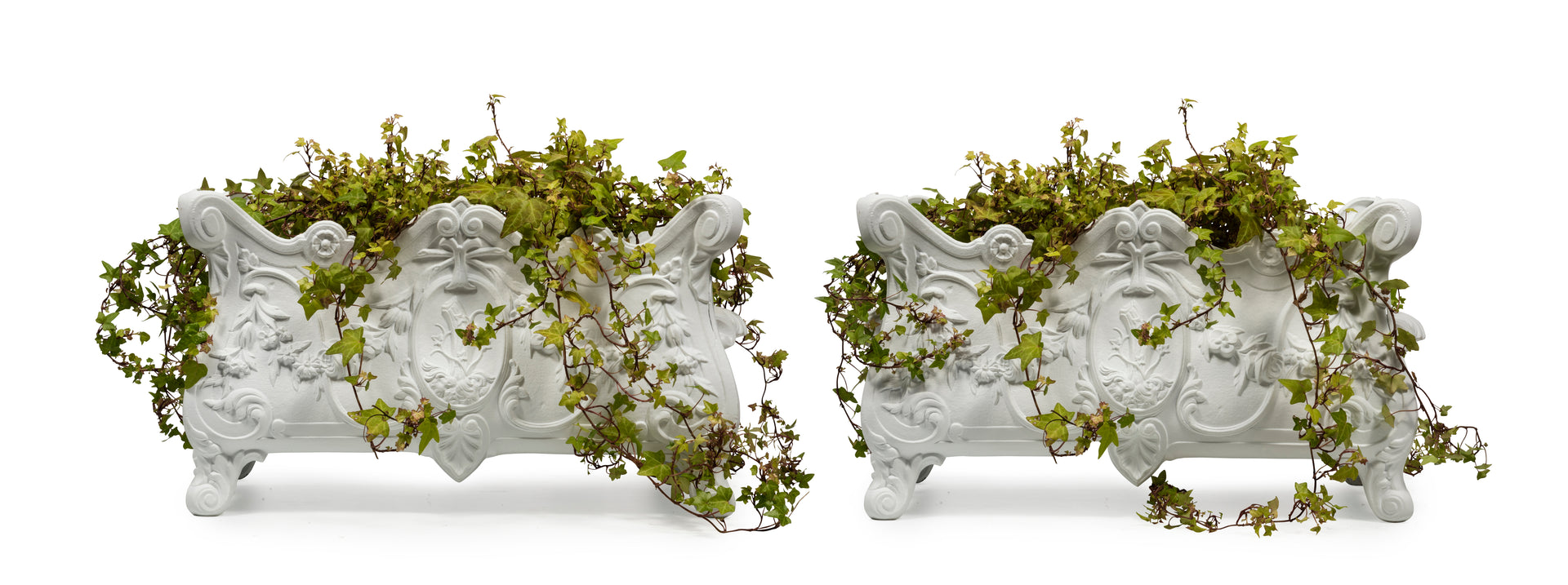A stylish pair of Louis XVI white painted cast iron jardinieres, French 19th Century