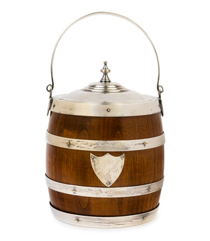 An appealing coopered oak and silver banded ice bucket, English 19th Century