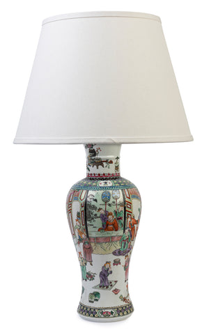 An overglazed enamel baluster vase lamp, Chinese, early 20th Century