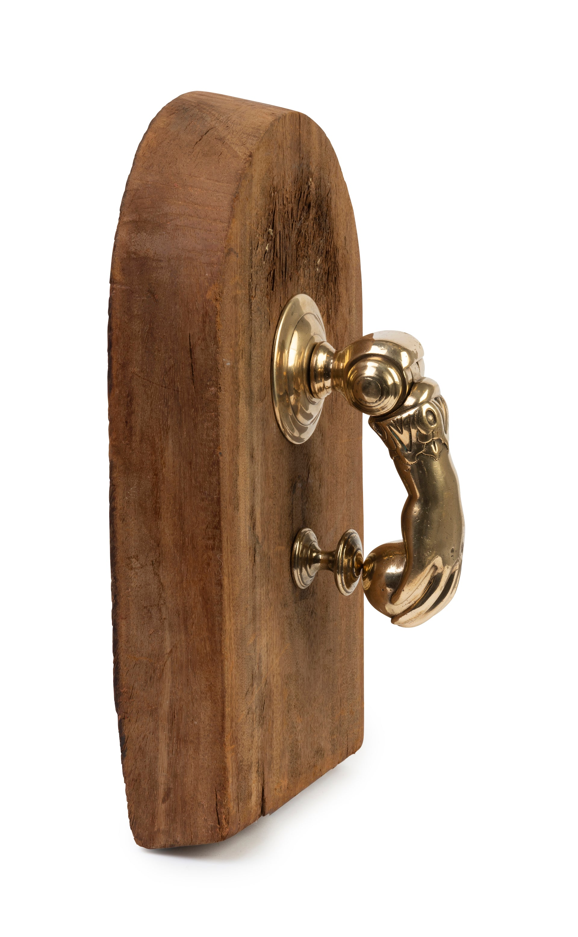 An impressive polished brass door knocker in the form of a hand, French 19th Century