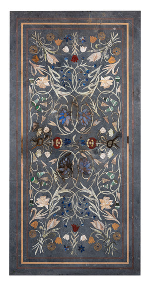 A rectangular specimen marble, stone and glass inlaid tabletop, Indian early 20th Century