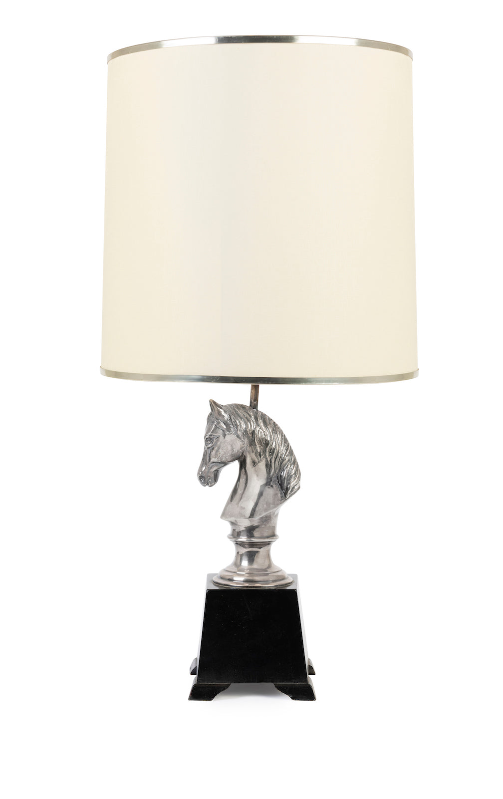 SOLD A stylish silver-plated horse-head table lamp, Italian Circa 1950