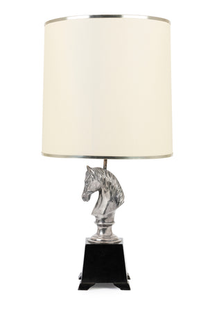 A stylish silver-plated horse-head table lamp, Italian Circa 1950