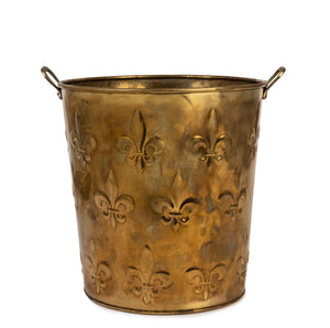 SOLD A brass bucket embossed with fleur-de-lys, French Circa 1950