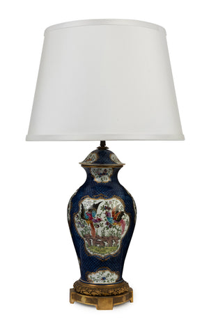 A quality blue-scale ground Chinoiserie porcelain lamp, Sampson of Paris, Circa 1920