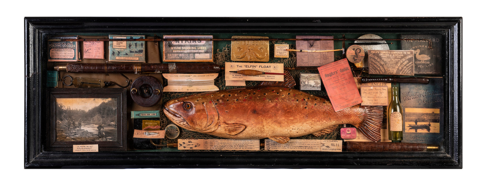 A unique English vintage fly-fishing anglers display in ebonised case, Circa 1900-1940