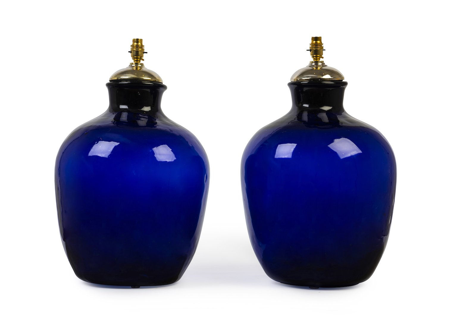 An impressive hand blown cobalt-blue bottle glass table lamp, French 19th Century