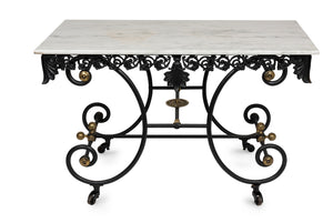 An exceptional cast iron, Carrara marble and brass detailed Patisserie table, French 19th Century