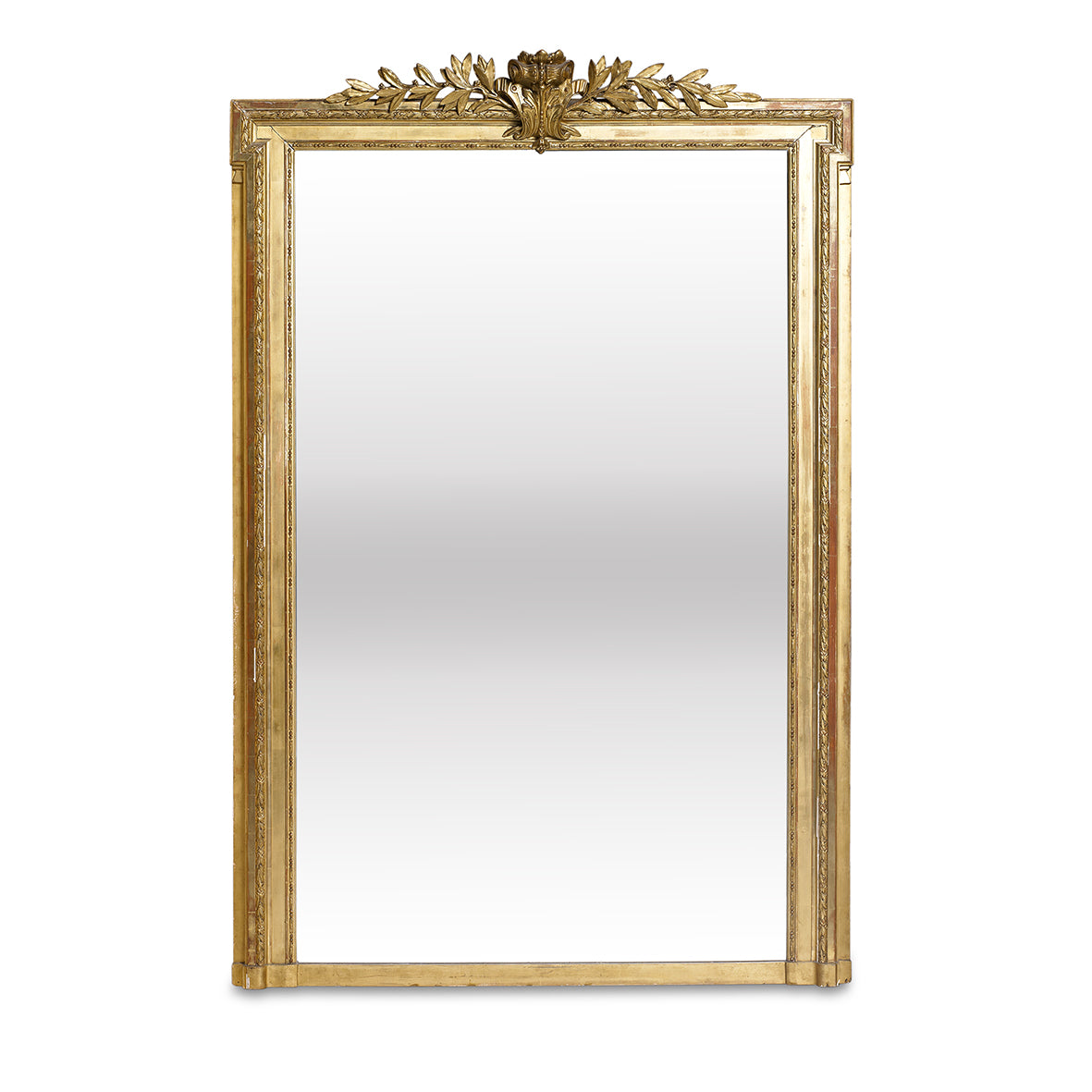 A fine and grand giltwood rectangular overmantel mirror, French 19th Century