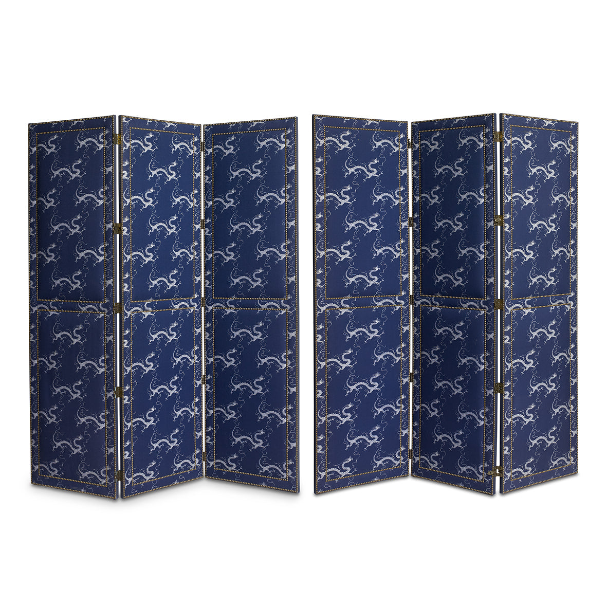 A pair of stylish brass-studded blue and white Chinoiserie dragon design upholstered screen, French 20th Century