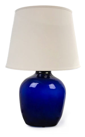SOLD An impressive hand blown cobalt-blue bottle glass table lamp, French 19th Century