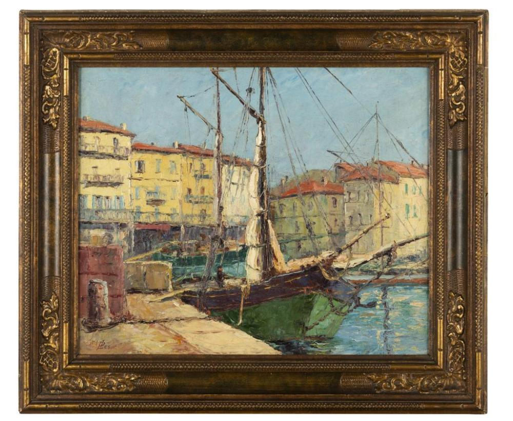SOLD  P. Lesur (French School)  Port du Saint Tropez, Circa 1920