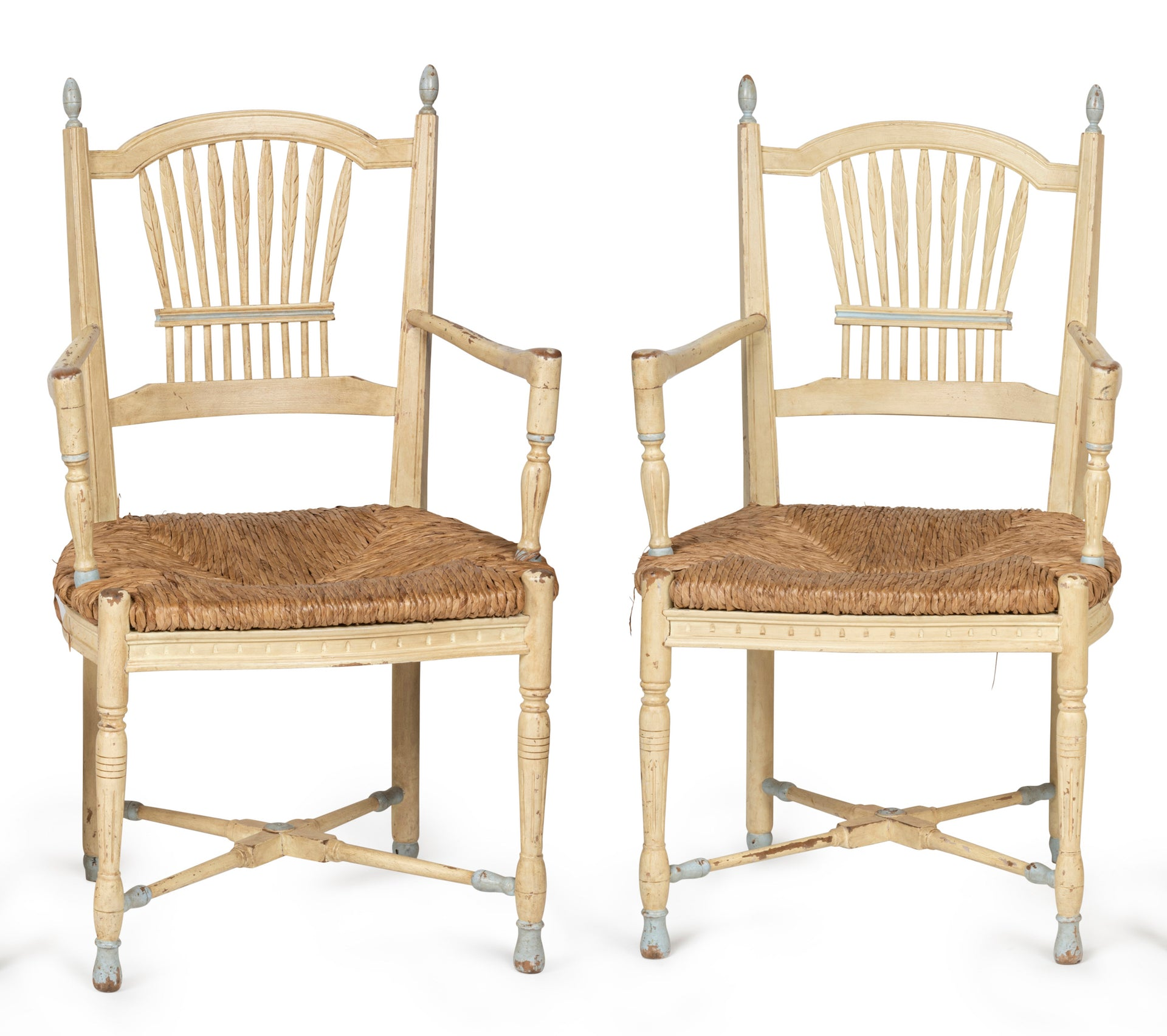 SOLD A set of six unusual painted timber Wheatsheaf design chairs, French Circa 1900