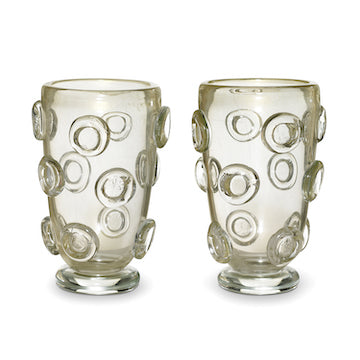 SOLD A pair of large gold speckled Murano glass vases, Italian 20th Century