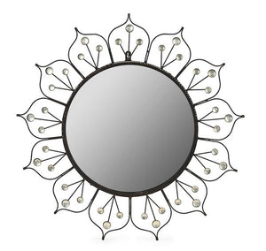 A pretty flowerhead design vintage wrought iron wall mirror, French Circa 1950