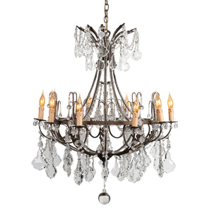 SOLD A fabulous bronze and clear crystal facet cut ten-branch Chandelier, French Circa 1900