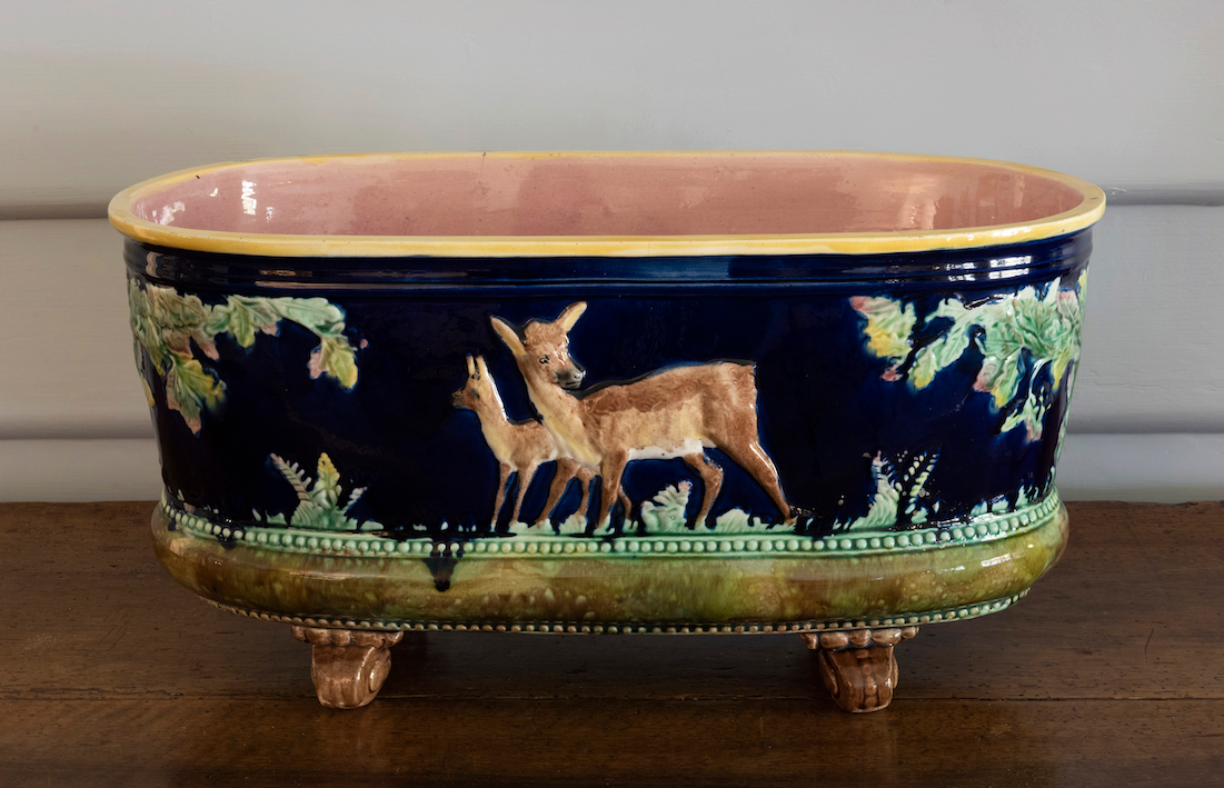 SOLD A charming Majolica oval jardinière or planter, French 19th Century