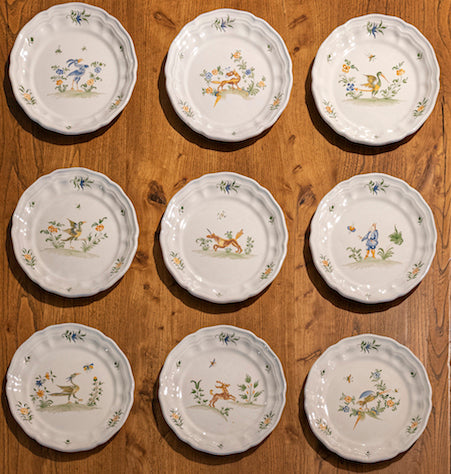 SOLD A beautiful faience dinner setting for 10 by Moustiers, France Circa 1900