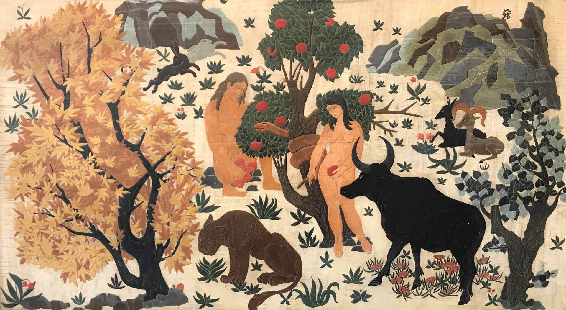 A magnificent lacquer wall panel, Artist Unknown, French Circa 1925