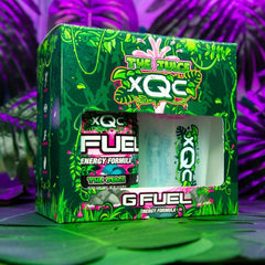 G FUEL and xQc's The Juice collectors box,  40-serving The Juice tub, 16 oz The Juicer shaker cup, gamer energy drink