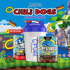 "Inspired by SEGA's Sonic the Hedgehog ""Sanic"" meme, the G FUEL Sanic gamer energy drink bundle includes a Sanic Chili Dogs tub, Sanic shaker cup, and a free Sonic's Peach Rings tub"