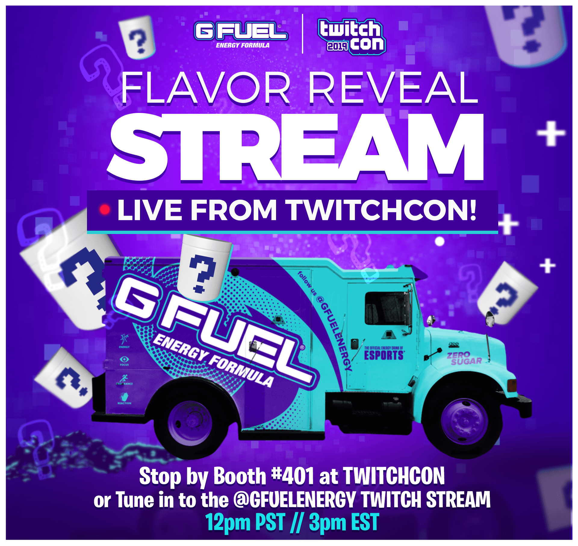 G FUEL will reveal its Twitch-inspired flavor at TwitchCon San Diego on September 27, 2019.