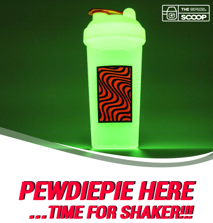 "A PewDiePie tall boy G FUEL shaker cup is pictured above a line that reads ""PewDiePie here...time for shaker!!!"""
