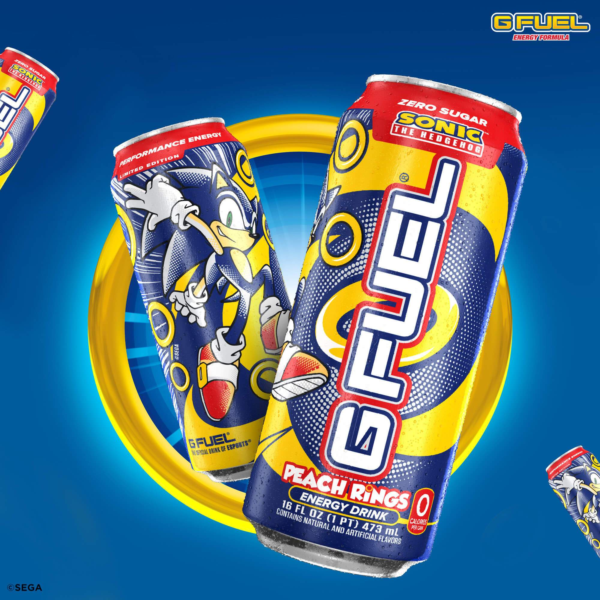 Sonic the Hedgehog Peach Rings G FUEL energy drink cans will be available for sale to U.S customers at gfuel.com on August 12, 2020.