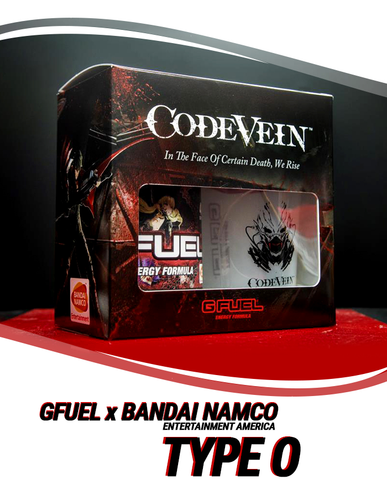 "A G FUEL Code Vein Collector's Box is pictured above a line that reads ""G FUEL x Bandai Namco Entertainment America Type O"""
