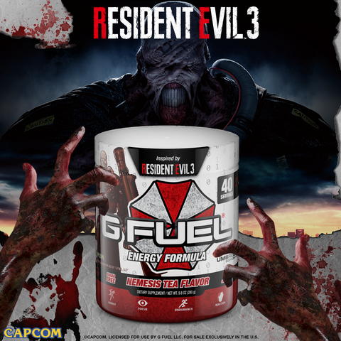 G FUEL Nemesis Tea Flavor tub, inspired by Resident Evil 3